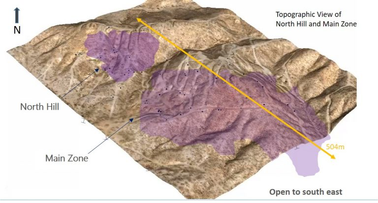 Pilar Mineralized Main-Zone and North-Hill opo-Overlay 2018