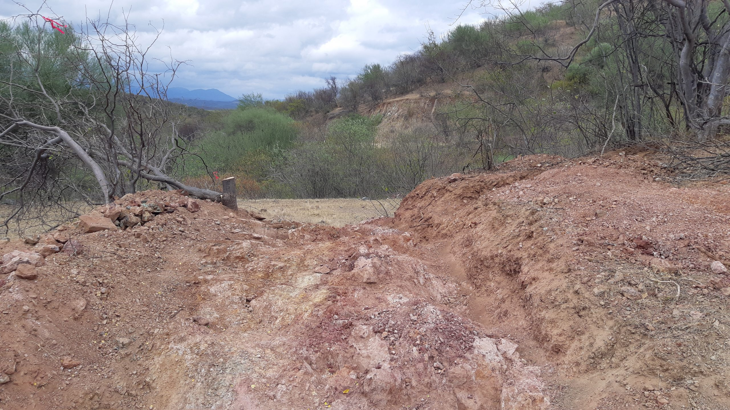 Looking north at mineralized zone North Hill at Pilar