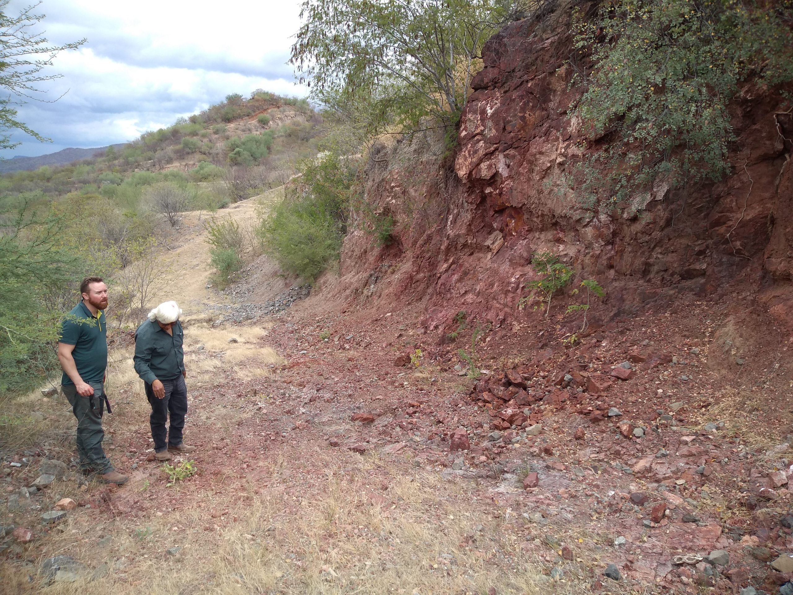 Oxidized mineralized trench at Main Zone looking north toward North Hill at Pilar