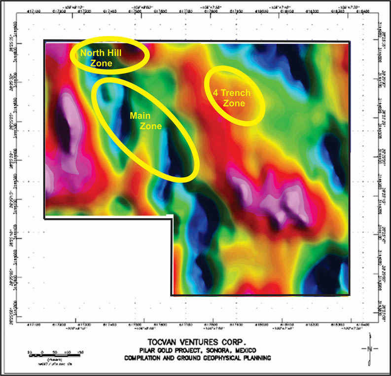 Figure 1b 3D Inversion Magnetic Susceptibility slice at ~350m depth. NW-SE shear corridor with N-S structures bounded within, and, zones of mineralization