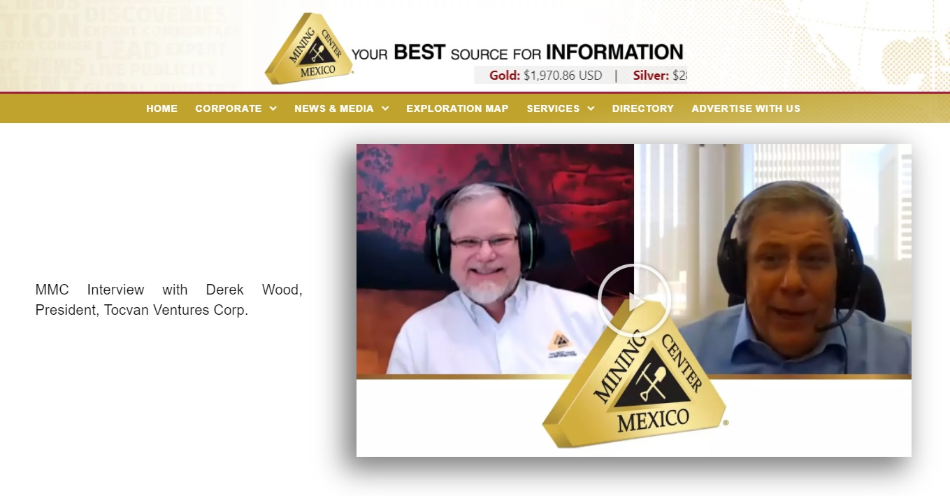 """Mining Centre Mexico:  Derek Wood –  """"Tocvan Ventures, On The Road To Discovery"""""""