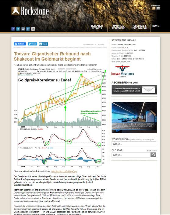TOCVAN-Gigantisher Rebound nach Shakeout im Goldmarkt beginnt