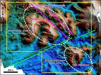 Figure 1. Geochemical interpretation of shallow soil data (from Aurum Exploration Services)