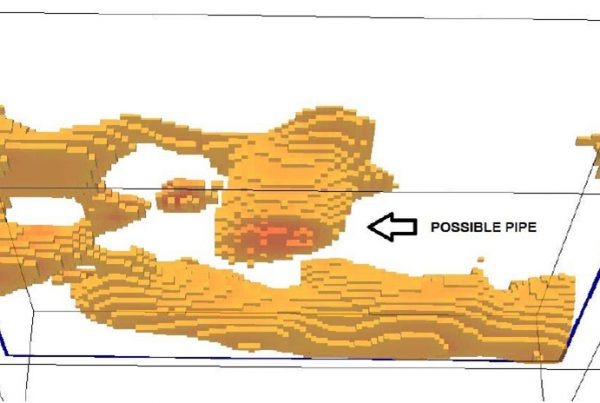 Figure 3 - A 3D Inversion of the Induced Polarization Resistivity data (looking west from below)