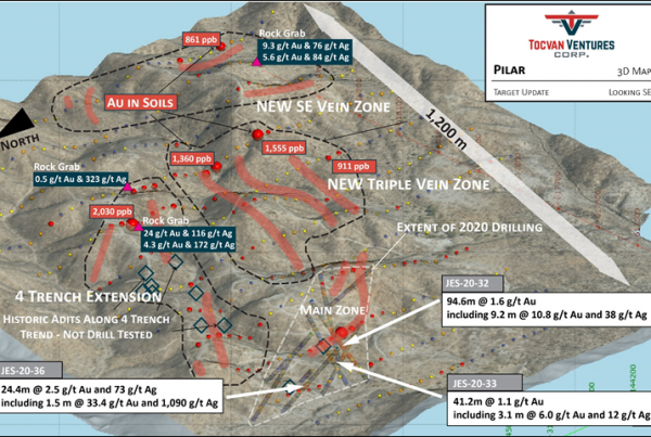 Figure 1. 3D Target Map of Pilar Gold-Silver Project. New veins are outlined in red. Outside of the Main Zone the majority of the project area has not been drill tested.