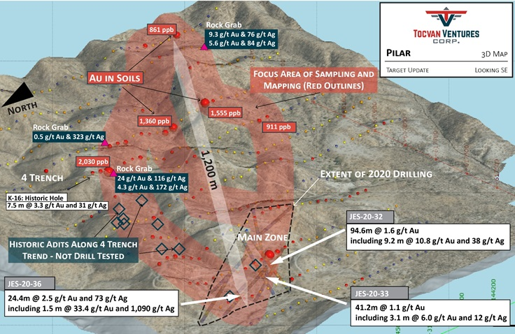 Tocvan Provides Update on Exploration at Pilar Gold-Silver Project Sonora, Mexico.