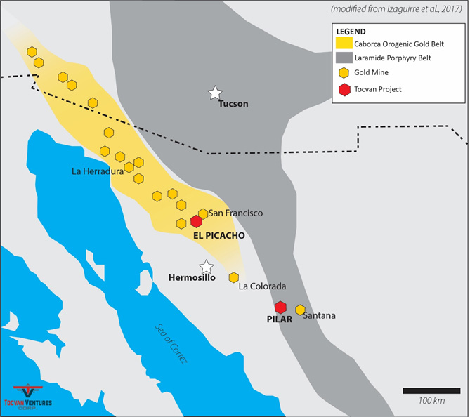 Figure 1. Location of El Picacho Project within the Caborca Orogenic Gold Belt