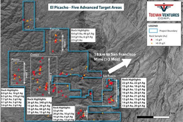 Figure 2. Planview Map of Target Areas at El Picacho