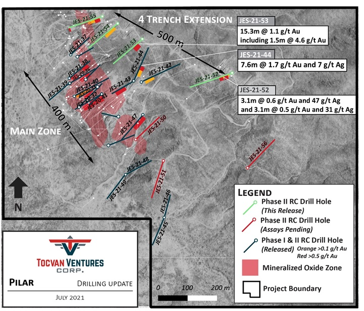 Tocvan Drills 15.3 meters of 1.1 g/t Au in New 4-Trench Extension Defines new mineralized trend over a 500 meter strike at Pilar