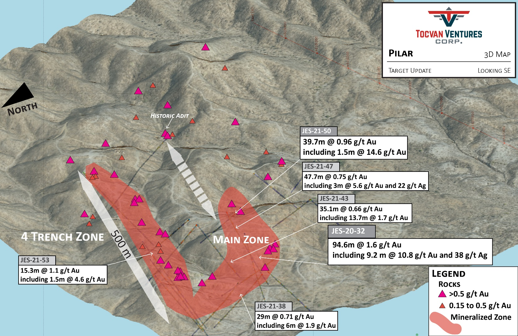 Figure 2. 3D Map of Phase II Drill Program Summary